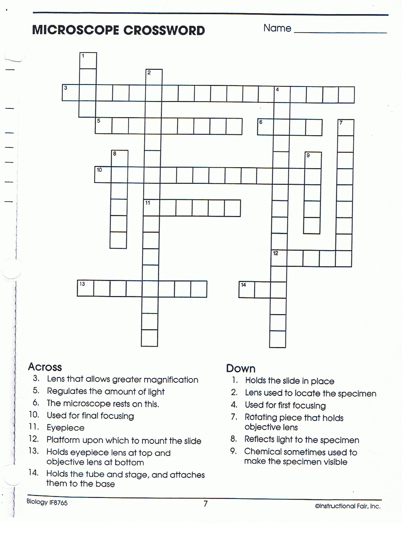 Chapter 2 The Chemistry Of Life Vocabulary Review Crossword Puzzle Answers